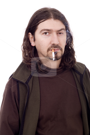 Smoking man stock photo, Smoking unsuccess young casual man by Marc Torrell