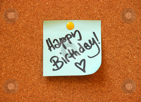 Happy birthday message stock photo, Happy birthday message on cork board by Dragana Jokmanovic