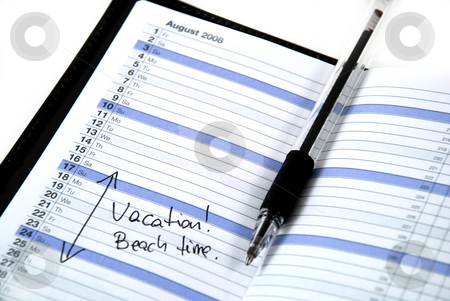 Beach time stock photo, Daily planner showing the scheduled vacation time at the beach by Albert Lozano