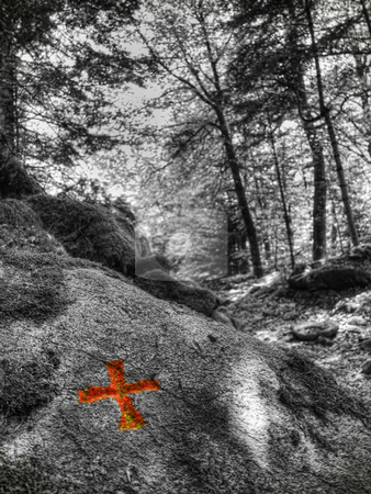 Mountain trail stock photo, Infrared picture of a trail with a indicating red  cross on rock by Laurent Dambies