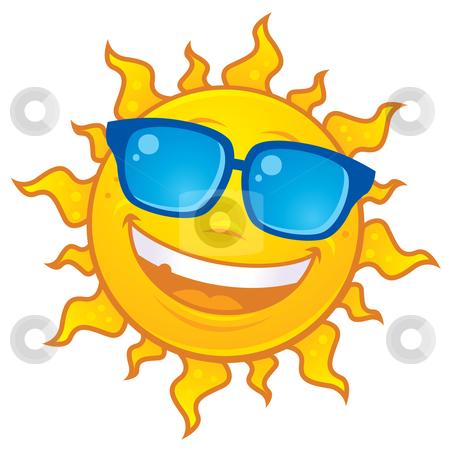 Sun Wearing Sunglasses stock vector clipart, Vector cartoon sun character wearing sunglasses. Great for summer themes. by John Schwegel