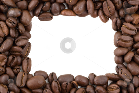 Coffee beans forming a border. stock photo, Coffee beans forming a border with copy space, white background. by Pablo Caridad
