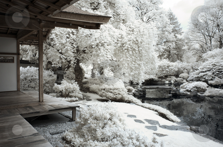 Shofuso Japanese Tea House stock photo, Japanese Tea House located in Fairmount Park Philadelphia, PA. by Eric Lukavsky