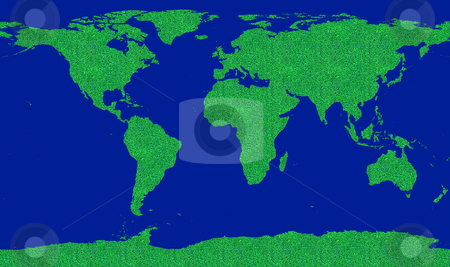 World go green stock photo, Concept image about world environment saving. Map of the world filled by a green grass pattern. Go green! by Roberto Marinello