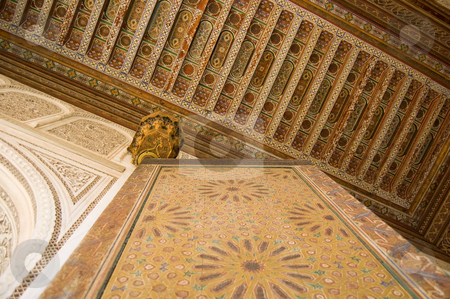 Internal moroccan style stock photo, A detail of an internal palace in Marrakesh by Roberto Marinello