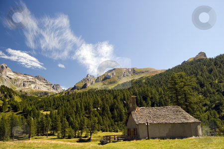Small church in mountain landscape stock photo, Small church in mountain landscape; Alpe Veglia, natural paradise in the italian Alps by Roberto Marinello