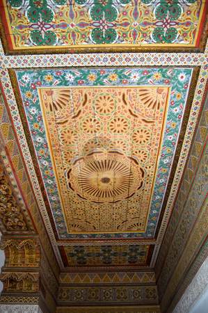 Moroccan style ceiling stock photo, A moroccan style ceiling of an old palace in Marrakesh by Roberto Marinello