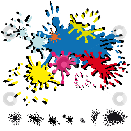Abstract inkblots stock vector clipart, Several abstract inkblots in colors and in black by Karin Claus