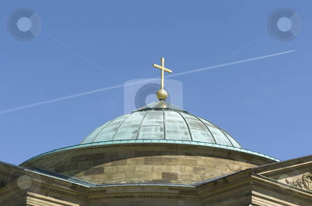 Monument dome stock photo, Monument dome with crucifix and aeroplane trail by Andreas Brenner