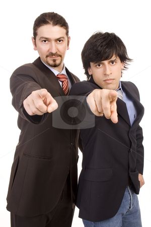 Two on you stock photo, Two young business men selecting you with finger by Marc Torrell