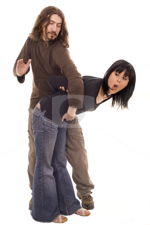 Domestic violence stock photo, Young couple fighting white isolate by Marc Torrell