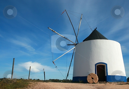 Windmill stock photo, Old white windmille by Marc Torrell