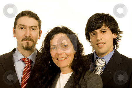 Business team stock photo, Two men and a  woman business team white isolate portrait by Marc Torrell