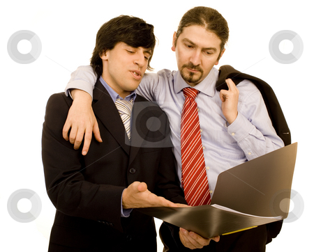 Business man stock photo, Boss explaining to the business man white isolate by Marc Torrell
