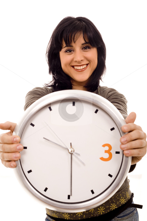 Woman time stock photo, Young smiling woman with a wall clock ehite isolate by Marc Torrell