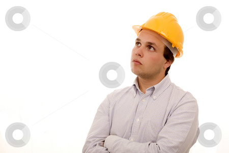 Thinking stock photo, Young man whith yellow helmet white isolate by Marc Torrell