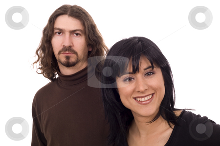 Gwoman and her couple stock photo, Young casual couple white isolate by Marc Torrell