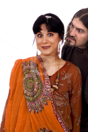 Strange couple stock photo, Strange couple, agressive man and scared etnic woman by Marc Torrell