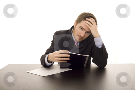 Business man stock photo, Business tired man in the office by Marc Torrell