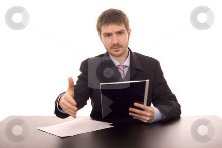 Man on a desk stock photo, Business man shaking hand on a desk white isolate by Marc Torrell