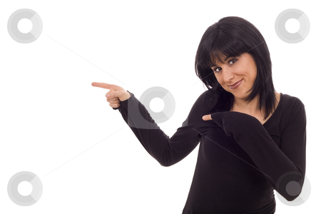 Beautiful smiling woman stock photo, Casual smiling woman finger sign white isolate by Marc Torrell