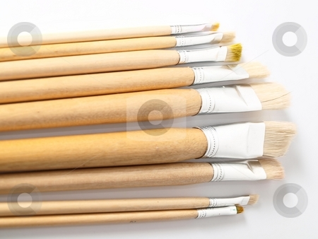 Brushes stock photo, Painting brushesfor fine art by Arve Bettum