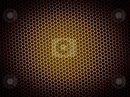 Honeycomb Background stock photo, Golden honeycomb background 3d illustration or backdrop with light effect by Henrik Lehnerer