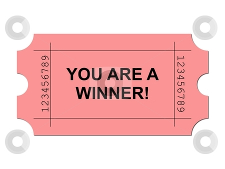 Ticket Red stock photo, Red ticket on white background with sample writing YOU ARE A WINNER by Henrik Lehnerer