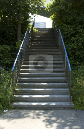 Stairs stock photo, Stairs between shrub and trees outdoors by Andreas Brenner