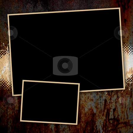 Grungy Rusted Page Template stock photo, Funky paint splatter background page layout with copyspace for your text and images. by Todd Arena
