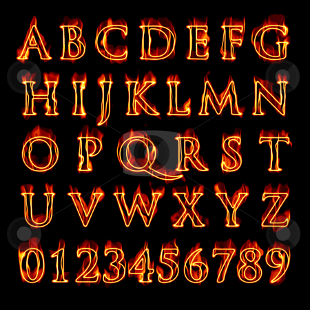 Flaming Alphabet and Numbers stock photo, A set of fiery flaming letters and numbers isolated over black. by Todd Arena