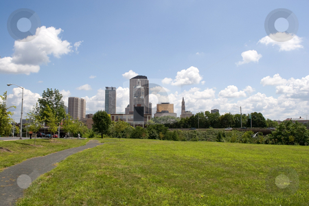 Hartford City Skyline stock photo, A view of the city skyline in Hartford Connecticut on a nice day. by Todd Arena