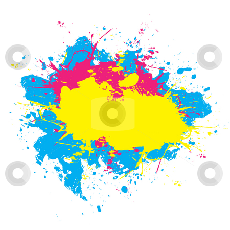 Colorful Splattered Paint  stock photo, Abstract paint splatter elements in a cmyk color scheme. by Todd Arena