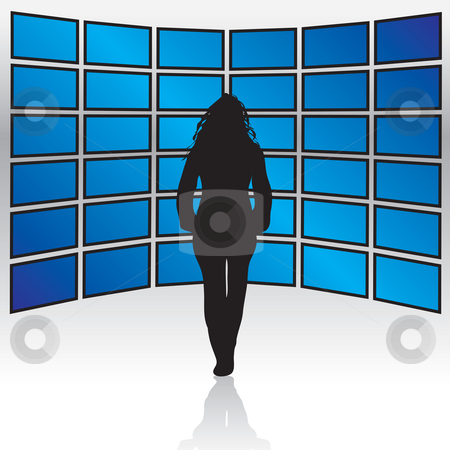 Wall of Widescreen TVs stock photo, A woman standing in front of a wall of widescreen LCD or plasma TV screens. by Todd Arena