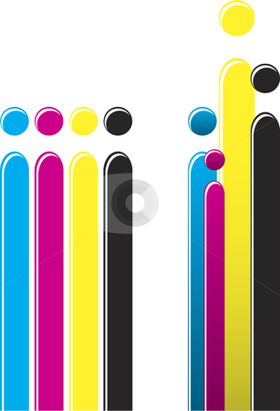 CMYK Ink Bars stock vector clipart, Colorful CMYK bars with glossy effect for you to use and edit by Augusto Cabral Graphiste Rennes