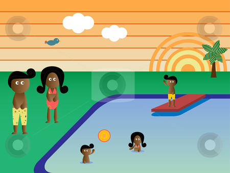 Retro Pool Family African American stock vector clipart, Retro Swimming Pool  Landscape African American Family Vacation by Augusto Cabral Graphiste Rennes