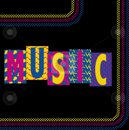 Neon Music stock vector clipart, Music Funky Retro Image with Caption and Stripes by Augusto Cabral Graphiste Rennes