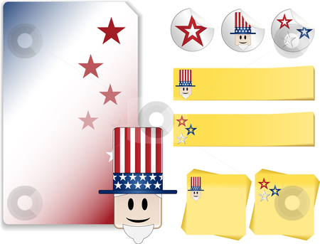 Uncle Sam Kit stock vector clipart, Set of Uncle Sam and Independence Day Celebration  with note, sticker by Augusto Cabral Graphiste Rennes