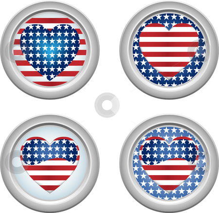 USA Buttons Heart stock vector clipart, USA Stars and Stripes Buttons Fourth of July by Augusto Cabral Graphiste Rennes