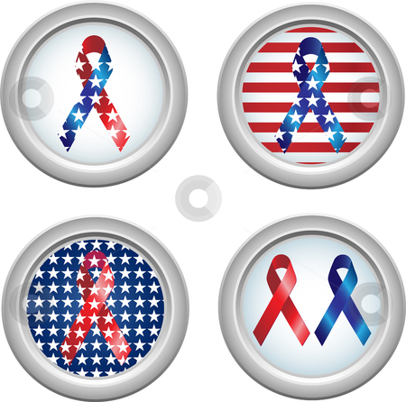 USA Buttons Ribbon stock vector clipart, USA Stars and Stripes Buttons with Ribbons Fourth of July by Augusto Cabral Graphiste Rennes