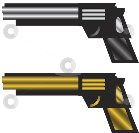 Guns stock vector clipart, Silver and Golden Modern Stylized Automatic Guns by Augusto Cabral Graphiste Rennes