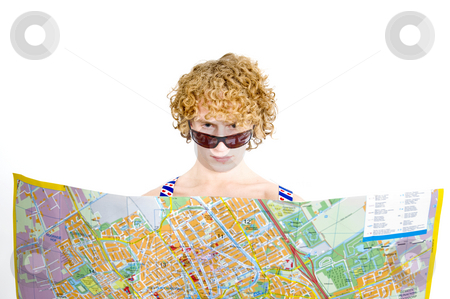 Lost Tourists stock photo, An archetypal tourists dressed in suspenders staring at a map by Corepics VOF