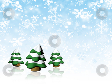 Christmas trees stock photo, Christmas trees on snowflake background by Kirsty Pargeter