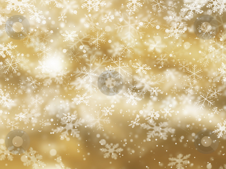 Snowflake background stock photo, Golden background of falling snowflakes by Kirsty Pargeter