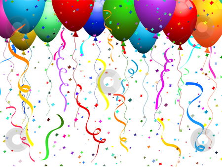 Balloons and confetti  stock photo, Falling confetti background with balloons by Kirsty Pargeter