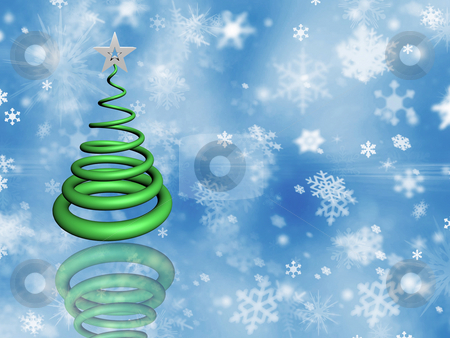Christmas tree stock photo, Christmas tree on snowflake background by Kirsty Pargeter