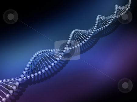DNA strands stock photo, 3D render of DNA strands by Kirsty Pargeter