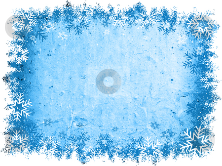 Grunge snowflakes stock photo, Snowflake border on grunge background by Kirsty Pargeter