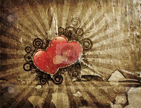 Grunge Valentines stock photo, Grunge style Valentines background by Kirsty Pargeter