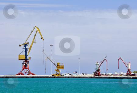 Cranes, loading equipment, port of Heraklion stock photo, Cranes at Iraklion port, Crete, Greece by Fernando Barozza